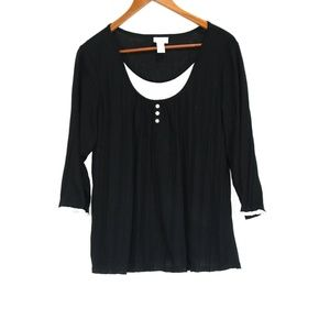 Chico's Black Henley Blouse - Size 2 Large